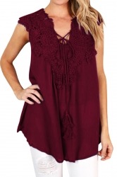 Lace V Neck Tie Front Sleeveless Chiffon Loose Plain Tank Top Ruby