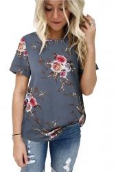 Crew Neck Short Sleeve Flower Print Loose T Shirt Gray