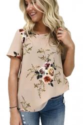 Crew Neck Short Sleeve Flower Print Loose T Shirt Khaki
