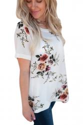Crew Neck Short Sleeve Flower Print Loose T Shirt White