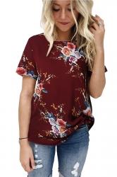 Crew Neck Short Sleeve Flower Print Loose T Shirt Ruby