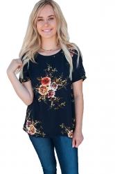 Crew Neck Short Sleeve Flower Print Loose T Shirt Navy Blue