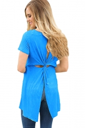 Short Sleeve Cut Out Pleated Split Back Loose Plain T Shirt Blue