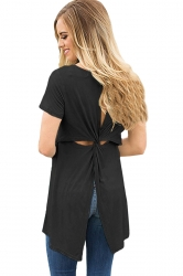 Short Sleeve Cut Out Pleated Split Back Loose Plain T Shirt Black