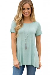 Short Sleeve Cut Out Pleated Split Back Loose Plain T Shirt Light Green