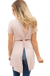 Short Sleeve Cut Out Pleated Split Back Loose Plain T Shirt Pink