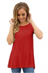 Short Sleeve Cut Out Pleated Split Back Loose Plain T Shirt Red