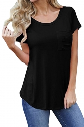 Simple Crew Neck Short Sleeve Pocket Front Plain T Shirt Black