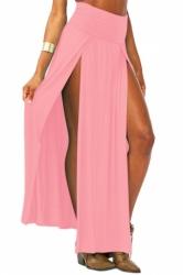 Pink Sexy Womens High Waisted Slit Maxi Skirt