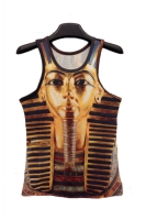 Gold Striped Egypt Pharaoh Print Tank Top