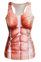 Sexy Red Muscle Print Ladies Summer Tank Top
