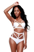 White Sexy Ladies Halter High Waisted Bikini