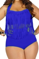 Womens Plus Size Fringe Top&High Waist Bottom Bikini Set Navy Blue