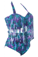 Womens Plus Size Fringe Printed Bikini Top&Sexy Swimwear Bottom Purple