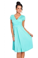 Turquoise V Neck Pleated Sexy Charming Ladies Midi Dress