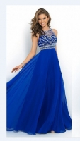 Sapphire Blue Sexy Lace Backless Patchwork Ladies Evening Dress