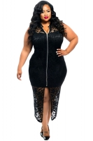 Womens Plus Size Sleeveless Lace Zipper Front Dress Black