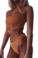 Womens Sexy Cross Bandage Bandeau Bikini Top&Bathing Suit Bottom Brown