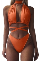 Womens Sexy Halter Cross Bandage Cut Out Plain Monokini Tangerine