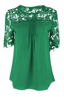 Womens Sexy Plain Lace Splicing Short Sleeve Blouse Dark Green