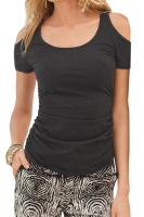 Womens Sexy Cold Shoulder Plain T Shirt Black