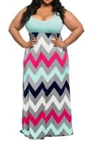 Womens Plus Size Zigzag Printed Maxi Tank Dress Light Blue