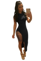 Womens Cut Out Side Slit Plain Sleeveless Clubwear Dress Black