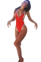 Womens V Neck Backless Color Block One Piece Swimsuit Red