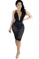Womens Plunging Neck Striped Mesh Splicing Clubwear Dress Black
