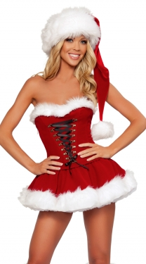 Strapless Lace Up Miss Santa Costume Christmas Costume For Women