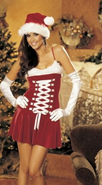 Womens Red Lace Up Fur Christmas Present Miss Santa Costume