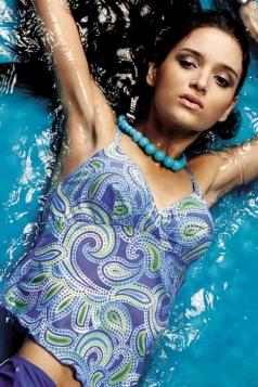 Vintage Tankini Swimwear Blue Floral Bikini