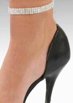 3 Row Crystal Silver PL Stretchy Ankle Bracelet Rhinestone