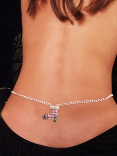 Christmas Stocking Color Rhinestone Belly Chain