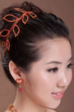 Red Romantic Rhinestone Leaves Hair Ornaments