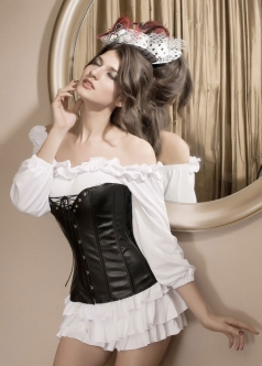 Leather Corset Open Cleavage Black Faux Feather