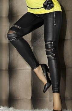 Zip-Front Faux Leather Black Ripped Leggings