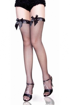 Ribbon Top Fishnet Black Stockings