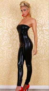 SEXY GOGO Black  Vinyl Leather Lingerie