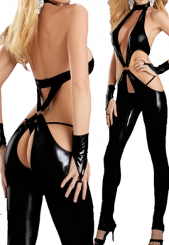 Fetish Pant Set Black Leather Lingerie