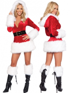 Fur Trim Velvet Hooded Santa Costume Mrs Santa Costumes