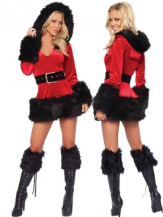 Womens Sexy Fur Trim V Neck Hooded Santa Claus Costume Red