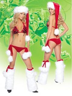 Naughty Red Fishnet Bikini Top Santa Costume Female Santa Costumes
