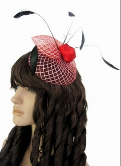 Feather And Flowers Mini Top Hat Net