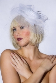 White Fascinator with Veil And Flower