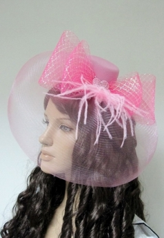 Pink Net Mini Top Hat With Bows Nylon mesh