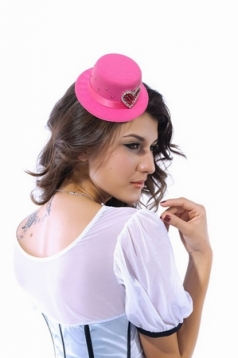 Rose Mini Hat With Color Rhinestone Nylon