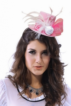 Pink Mini Top Hat with Rose And Nylon Feathers