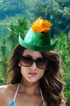 Green Felt Hat With Clover And Feather Net Feathers