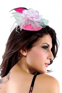 Hawaii Mini Top-hat With Chiffon Flower And Feather